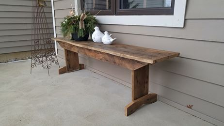 Primitive Barn Board Bench in Elm