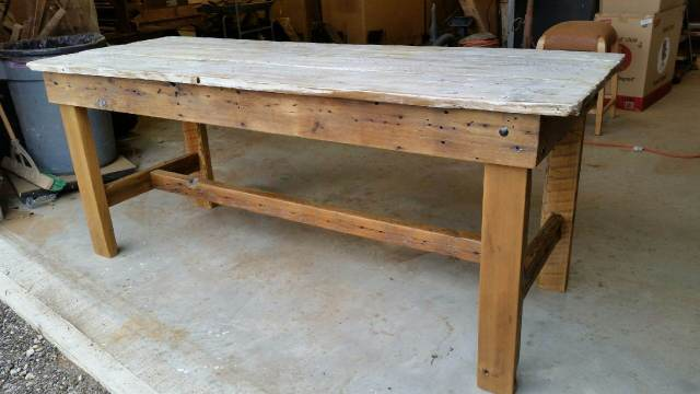 Rustic White Wash Barn Door Table