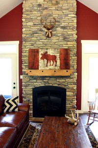Red White and Moose barn board flag