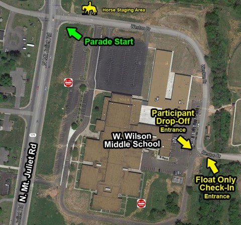 Overview of the parade start and participant drop-off location at Mt. Juliet Middle School.