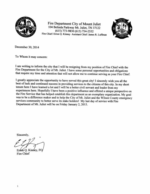Kinney's Letter of Resignation Copy