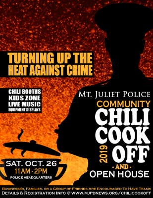 Chili Cook-Off Flyer. Information on Flyer is Listed Below