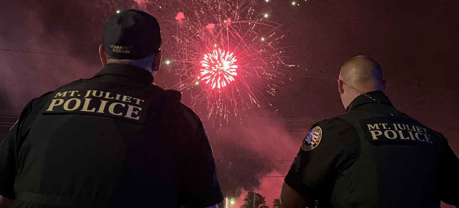 Two Officer Watching Fireworks