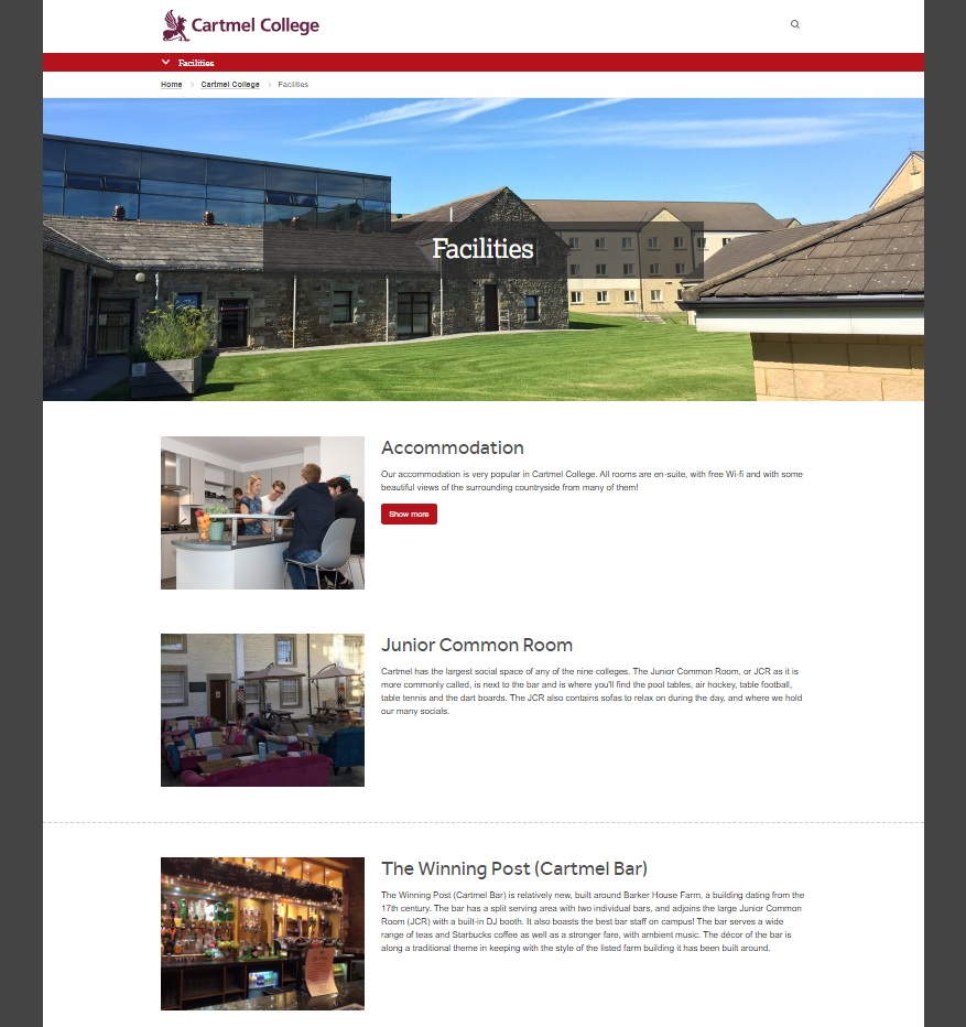 Example facilities page from Cartmel website, December 2018