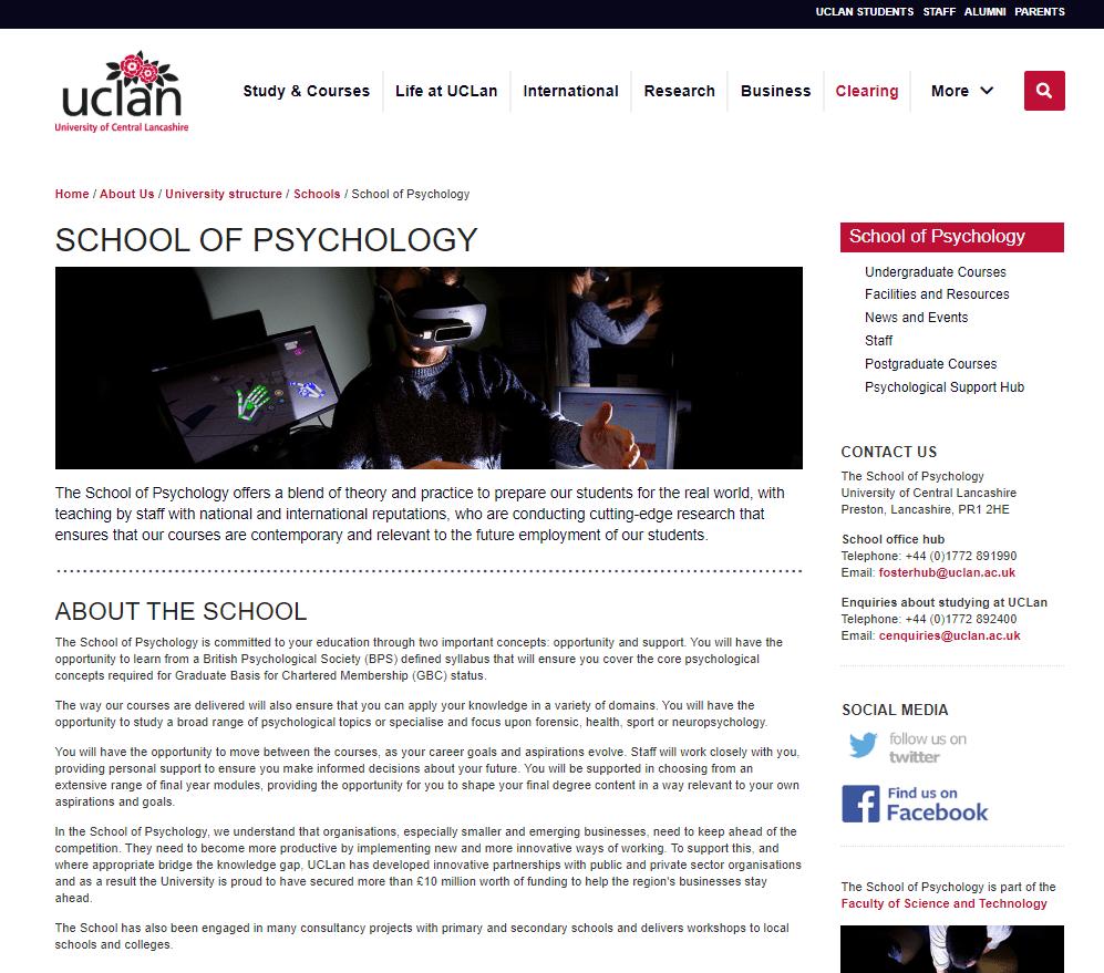 Old UCLan website, July 2020