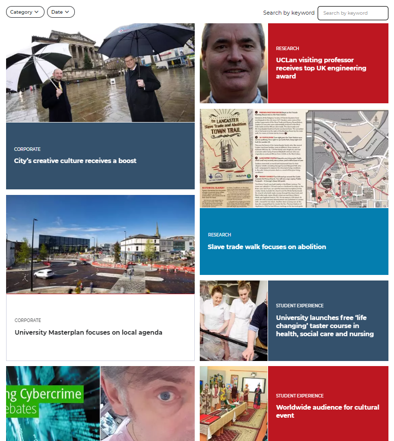 UCLan new website: News section