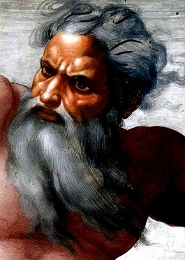 Close up of God from Michelangelo- Creation of Sun Moon and Planets