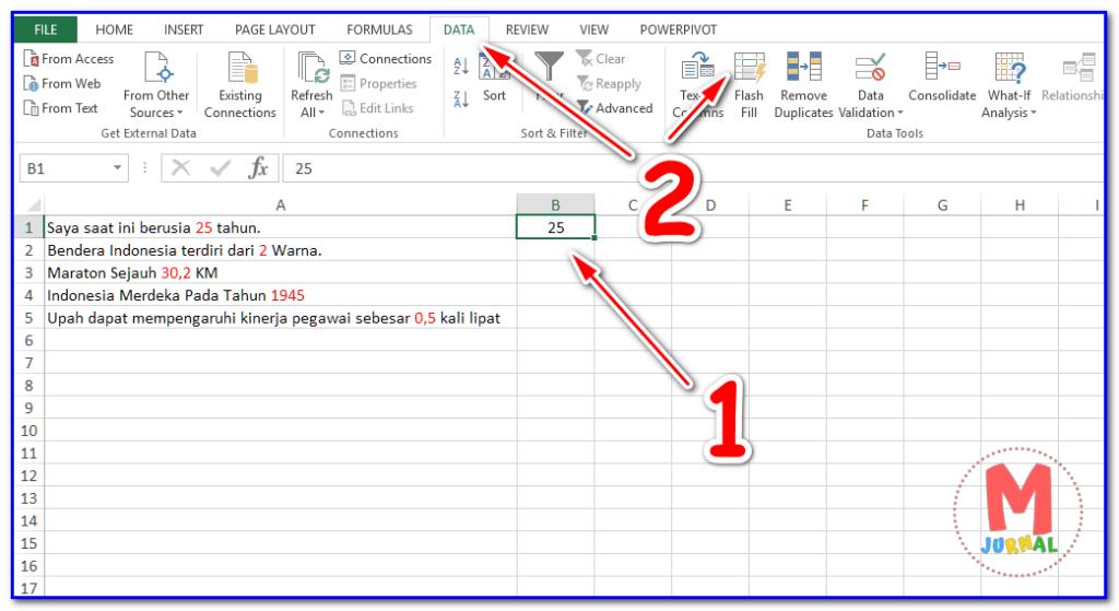 cara ekstrak kata di excel otomatis | Flash Fill Excel