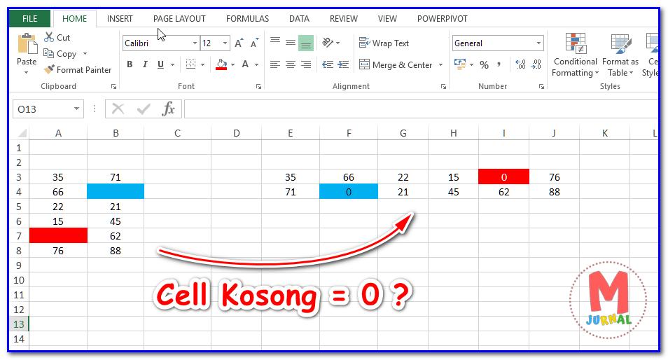 Fungsi Transpose Excel pada Cell Kosong menjadi nol (0)