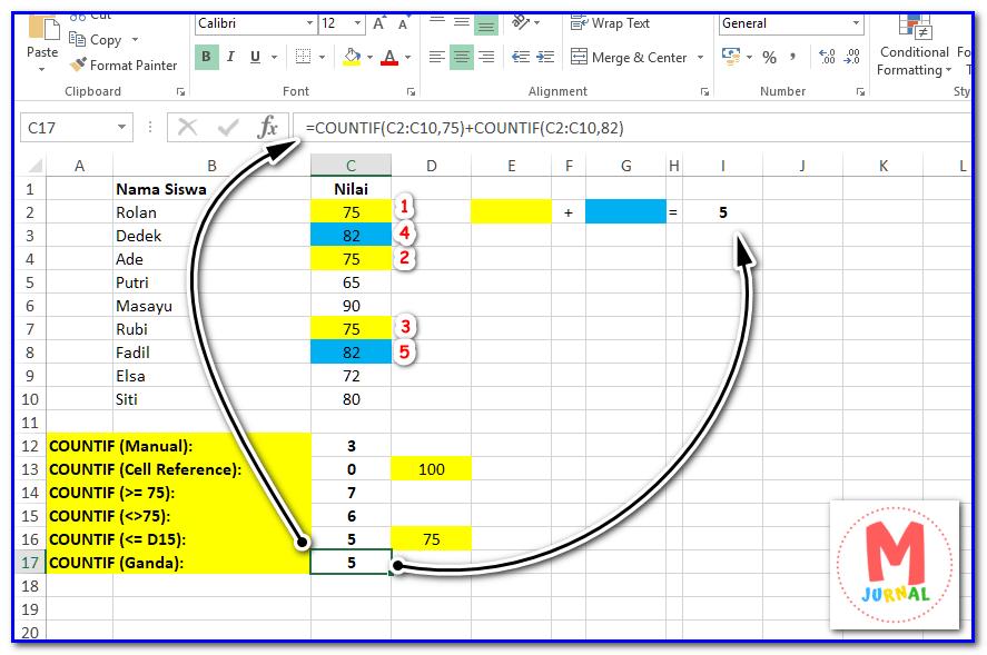 Cara menghitung data berdasarkan kriteria pada Excel