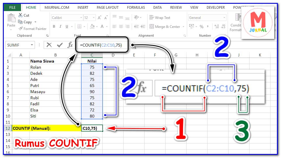 Rumus COUNTIF Excel kriteria Angka