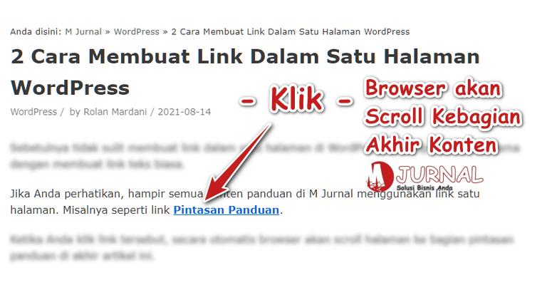 Cara membuat link dalam satu halaman di WordPress