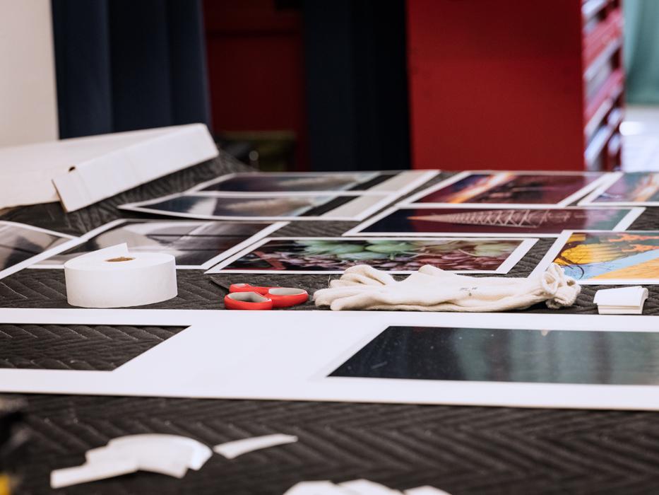 studio in Los Angeles, CA assembling print work