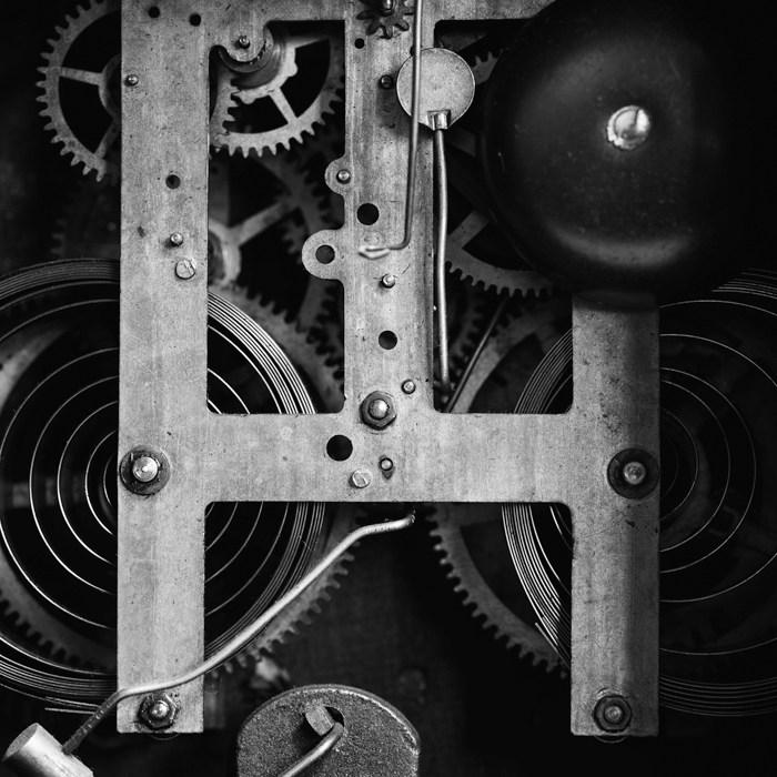 black and white photograph abstract gears macro old clock