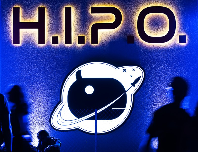 Hipo Sign at Night With Motion of People Fuji GFX 50s event photo