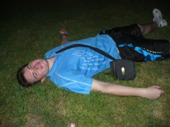Alex was the only one brave enough to lay in the grass