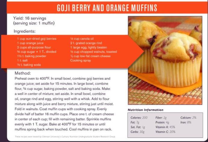 goji berry and orange muffins