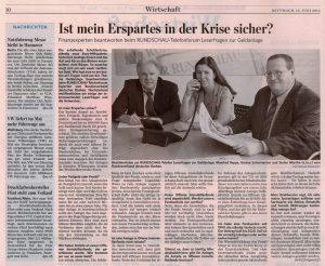 Als Experte des Bundesverbandes Deutscher Banken beim Telefonforum der Lausitzer Rundschau am 12.06.2012 - Teil 1
