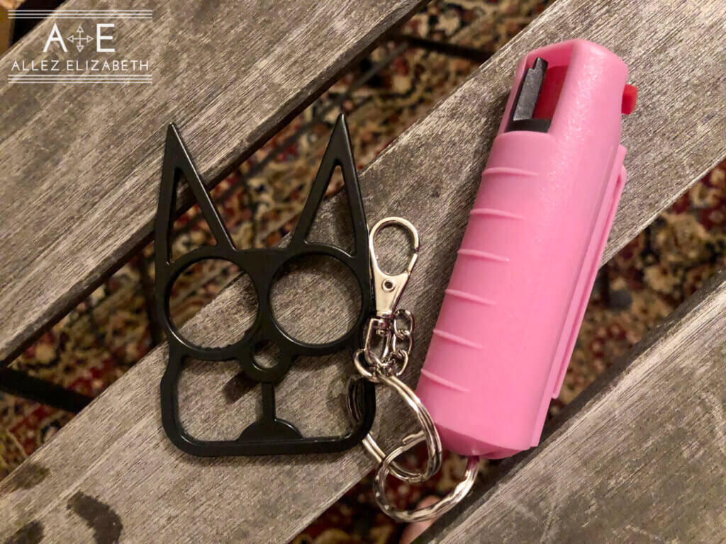 self defense cat keychain with pepper spray in a pink case.