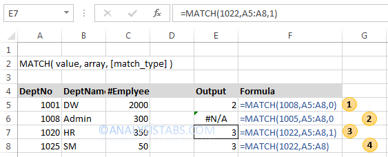 Match Function In Excel