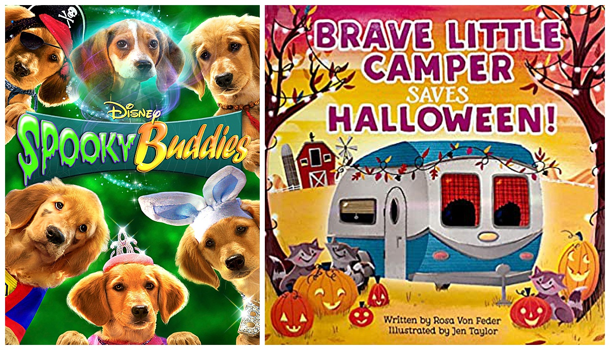 Spooky Buddies movie and Brave Little Camper Saves Halloween padded storybook