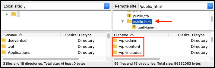 public html folder in filezilla