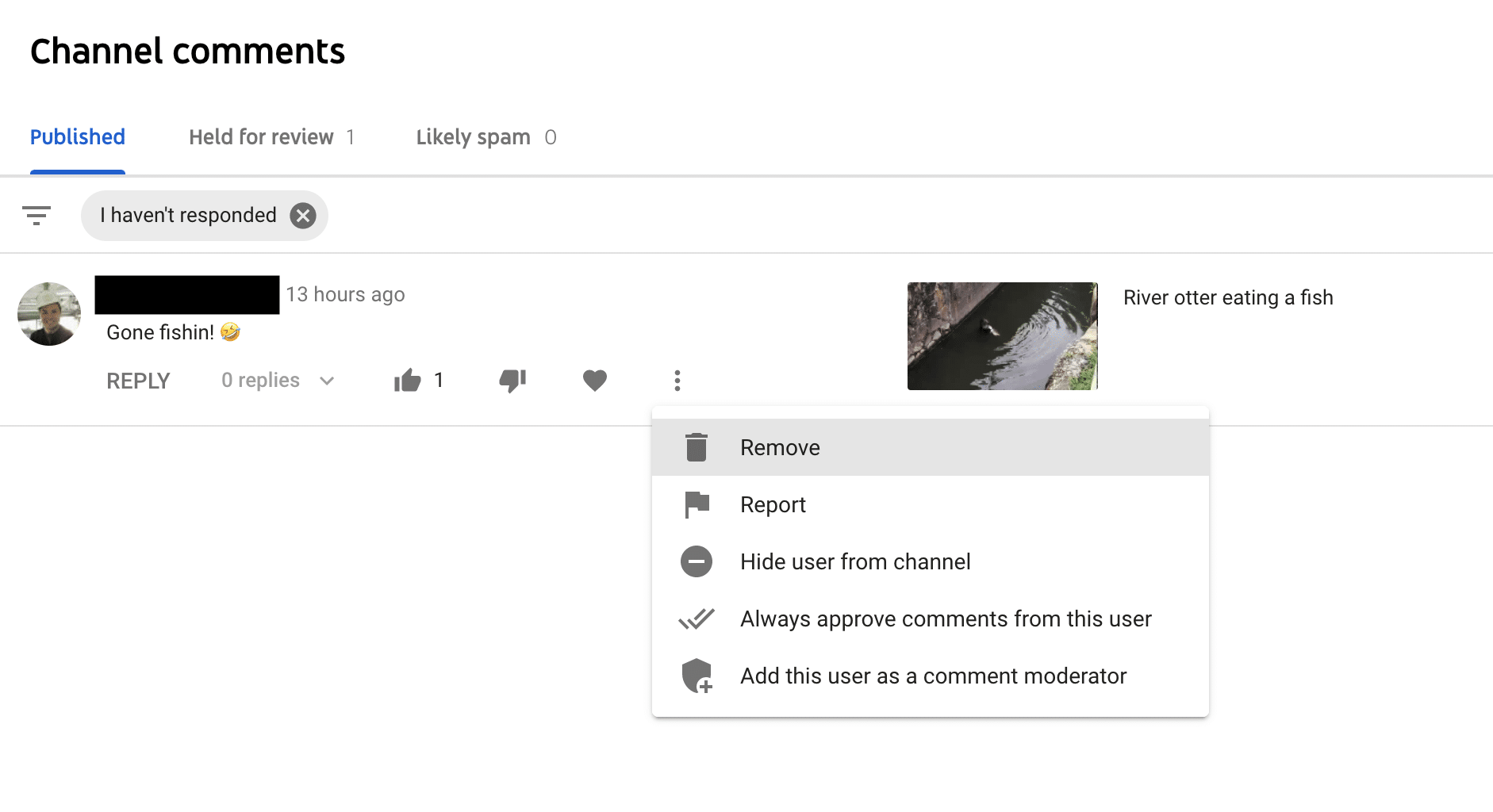 Delete YouTube comments that automatically publish