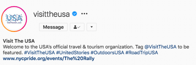 Instagram followers Visit The USA feature tag