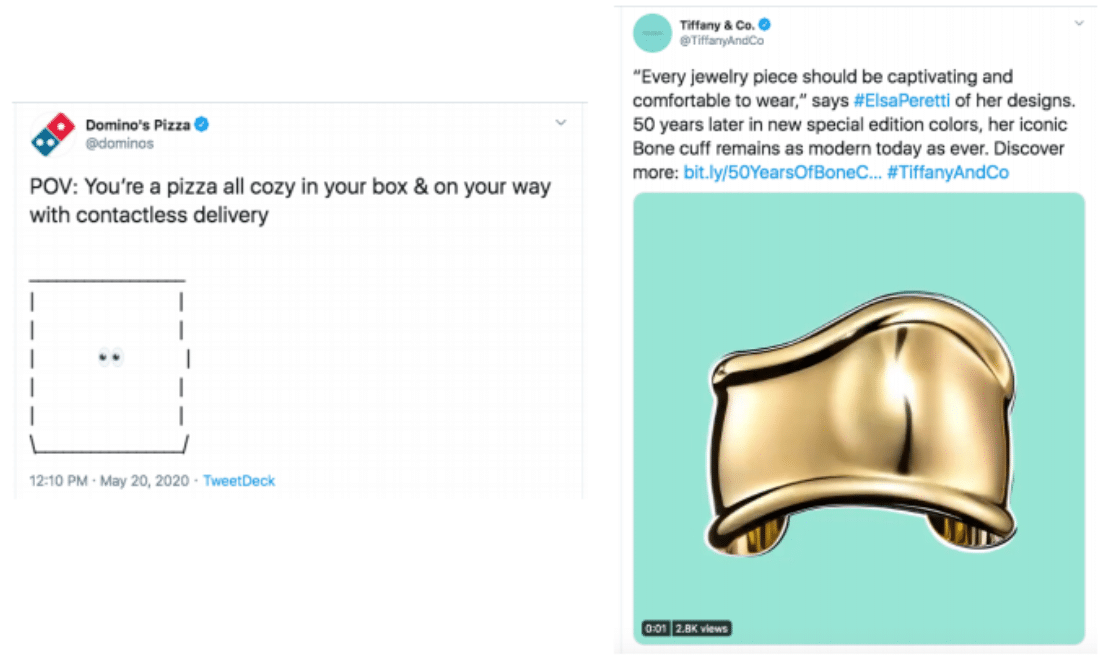 Domino's Pizza and Tiffany and Co Twitter social media strategy