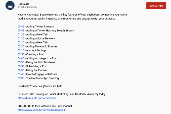 YouTube Hootsuite video description with timestamps