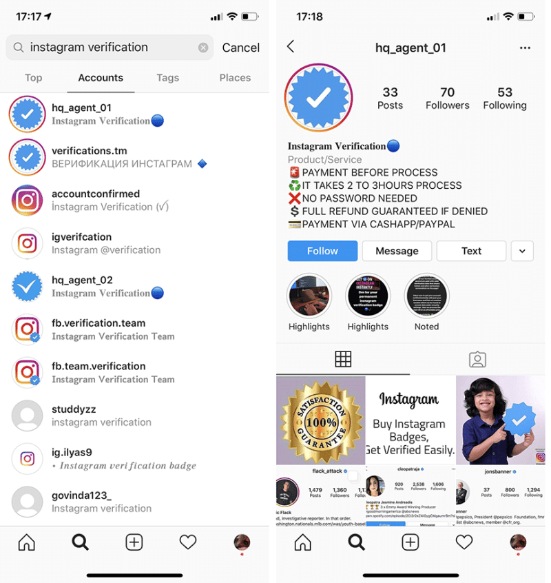 third party scam accounts pretending to sell Instagram badges