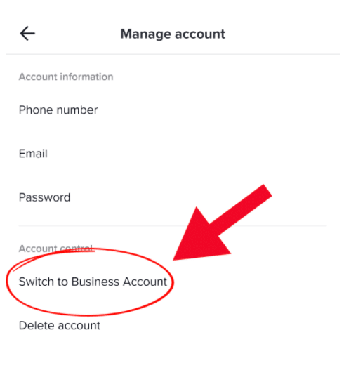 switch to business account under Manage Account