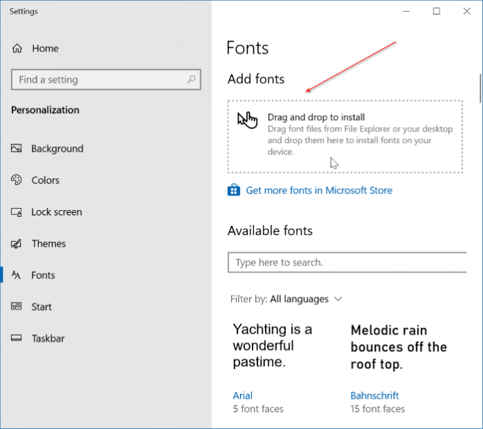 preview, install and uninstall fonts in Windows 10 pic4