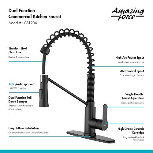 amazing force kitchen faucet with pull down sprayer commercial kitchen sink faucet single handle utility sink faucet