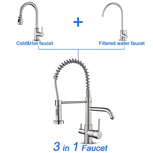 menatt 3 in 1 drinking water faucet pull down spring kitchen faucet with purified faucet kitchen sink faucet brushed