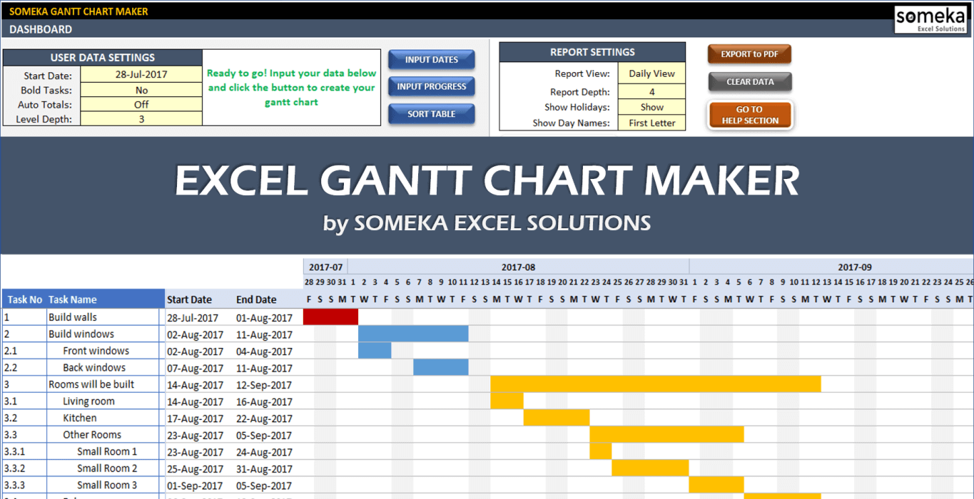 Gantt chart excel template with subtasks. Gantt Chart Maker Visualize Your Projects In Excel Template