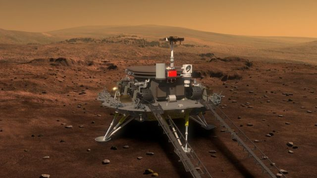 Artist's illustration of China's Mars rover on the surface of the Red Planet.