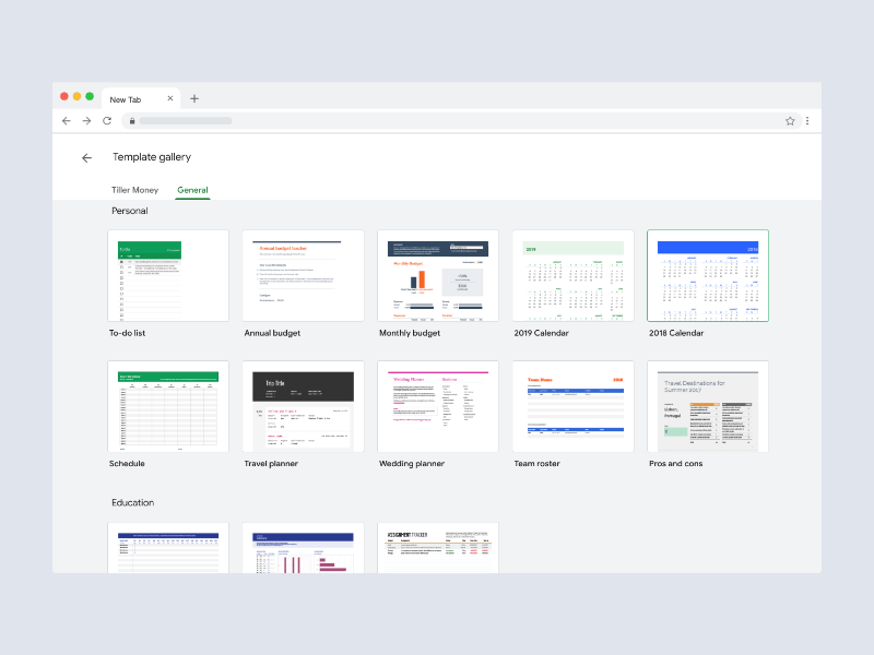 Google Sheets Gallery Templates