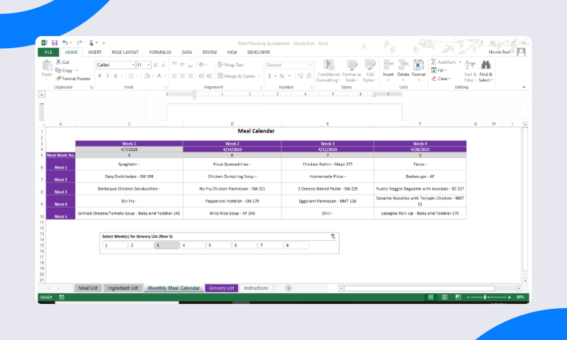 Save Money With These 7 Free Meal Planner Spreadsheets