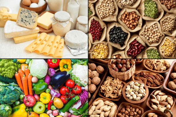 Collage of dairy products, legumes, fruits