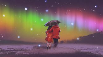 twin flame couple in red coat under an umbrella walking on snow looking at Northern light in the sky, digital art style, illustration painting