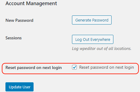 Reset WordPress user password on next login