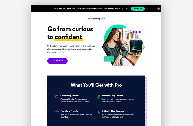 Smart Traffic Landing Page Example - Codecademy