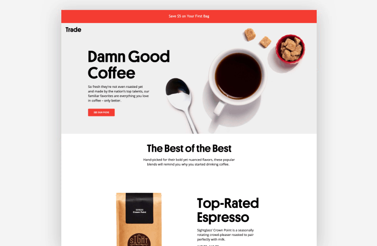 Ecommerce Landing Page Example from Trade Coffee