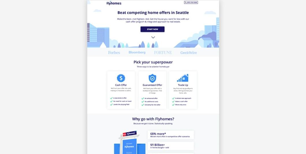 Real Estate Landing Page Examples - Flyhomes