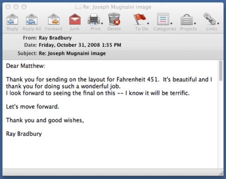Email approval from Ray Bradbury