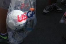 He's got big golf balls. They're about 9 or 10 inches.