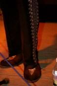 Tight pants, velvet slippers