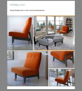 Orange cotton velvet chair with Bubinga Burl base, and orange casters