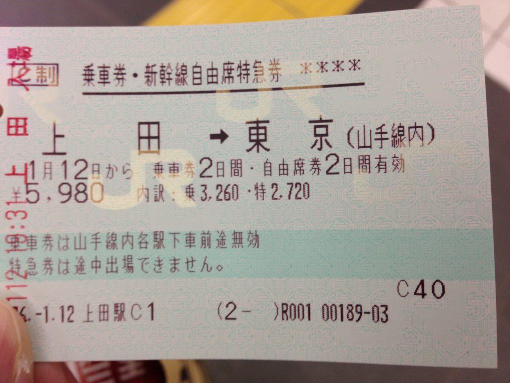 上田→東京 新幹線切符